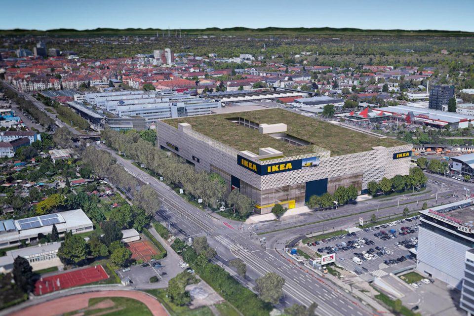 Luftaufnahme von IKEA Karlsruhe