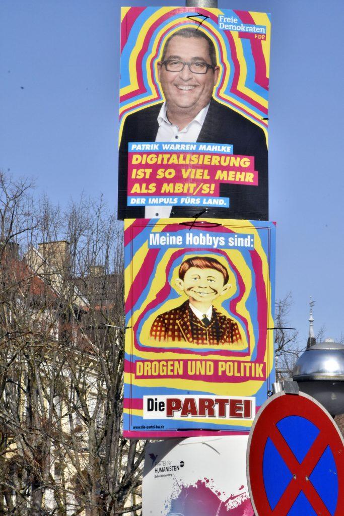 FDP-Plakat und Persiflage