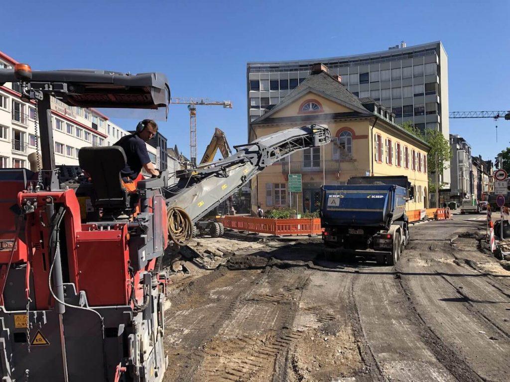 Bauarbeiten am Karlstor in Karlsruhe