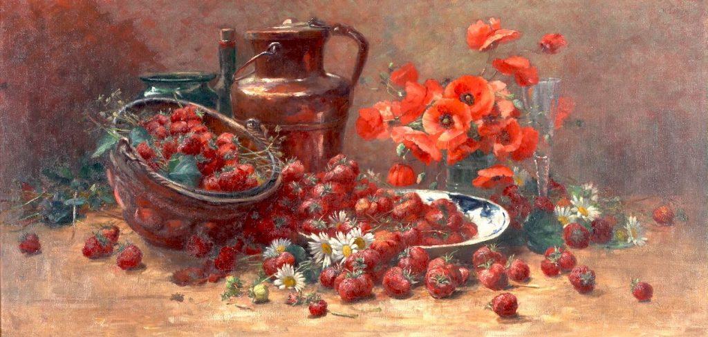 Helen Iversen Stilleben mit Erdbeeren